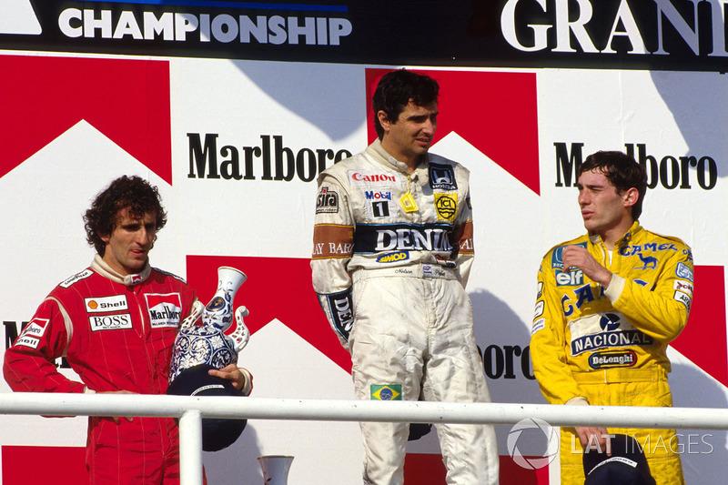 Podium: race winner Nelson Piquet,Williams, second place ...