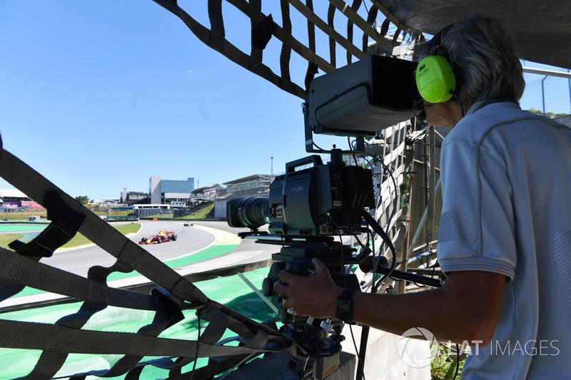 Cameraman shoots the action