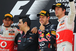 Podium: race winner Sebastian Vettel, Red Bull Racing, second place Lewis Hamilton, McLaren, third place Jenson Button, McLaren, Peter Prodromou, Red Bull Racing Head of Aerodynamics