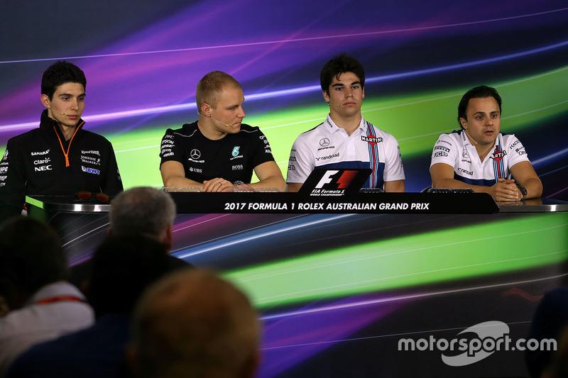 Esteban Ocon, Sahara Force India F1 Team; Valtteri Bottas, Mercedes AMG F1; Lance Stroll, Williams; Felipe Massa, Williams