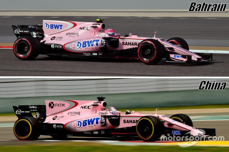 Comparaison de l'aileron de requin de la Force India VJM10