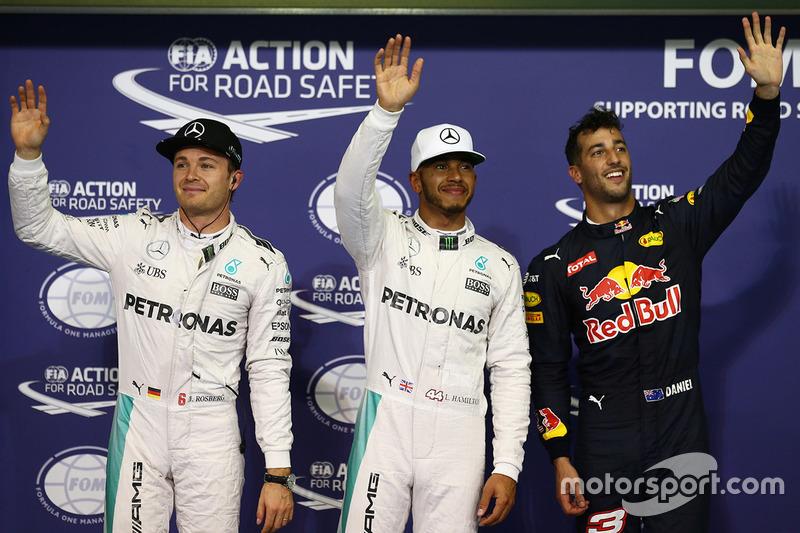 Top 3 im Qualifying: 1. Lewis Hamilton, Mercedes AMG F1; 2. Nico Rosberg, Mercedes AMG F1; 3. Daniel