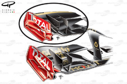 Lotus Renault R31 front wings comparison