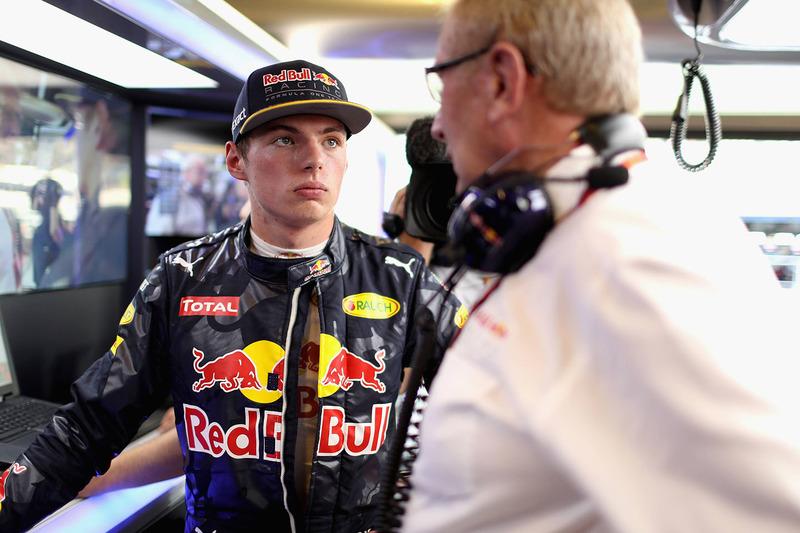 Max Verstappen, Red Bull Racing con el Dr. Helmut Marko, asesor de Red Bull Motorsport