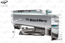 Mercedes W05 chassis detail around keel