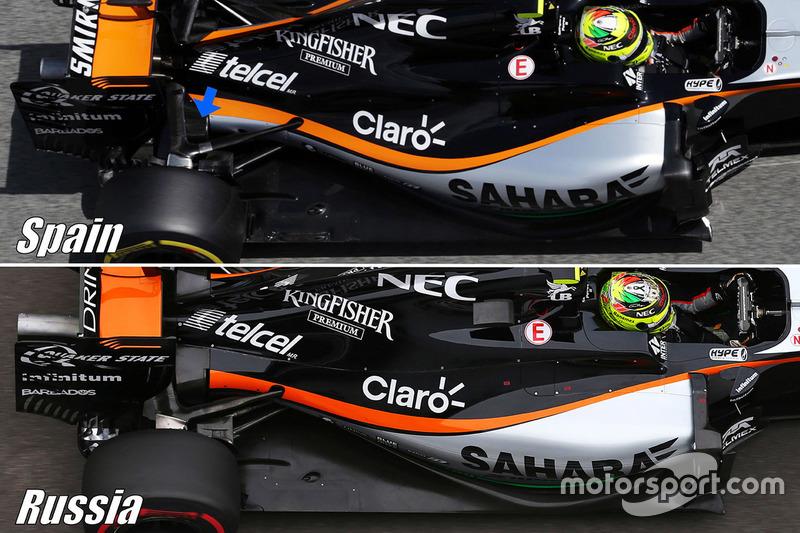 Comparaison de la suspension arrière de la Sahara Force India F1 VJM09
