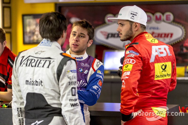 Jérôme d'Ambrosio, Dragon Racing; Robin Frijns, Amlin Andretti Formula E Team y Daniel Abt, ABT Scha