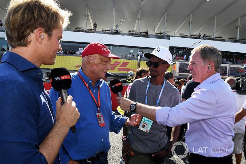 Nico Rosberg, Ambasciatore Mercedes-Benz, Niki Lauda, Presidente Non-Esecutivo Mercedes AMG F1, Mo Farah, Martin Brundle, Sky TV