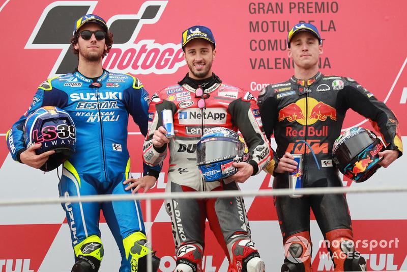 Podio: Ganador, Andrea Dovizioso, Ducati Team, segundo, Alex Rins, Team Suzuki MotoGP, tercero, Pol Espargaro, Red Bull KTM Factory Racing