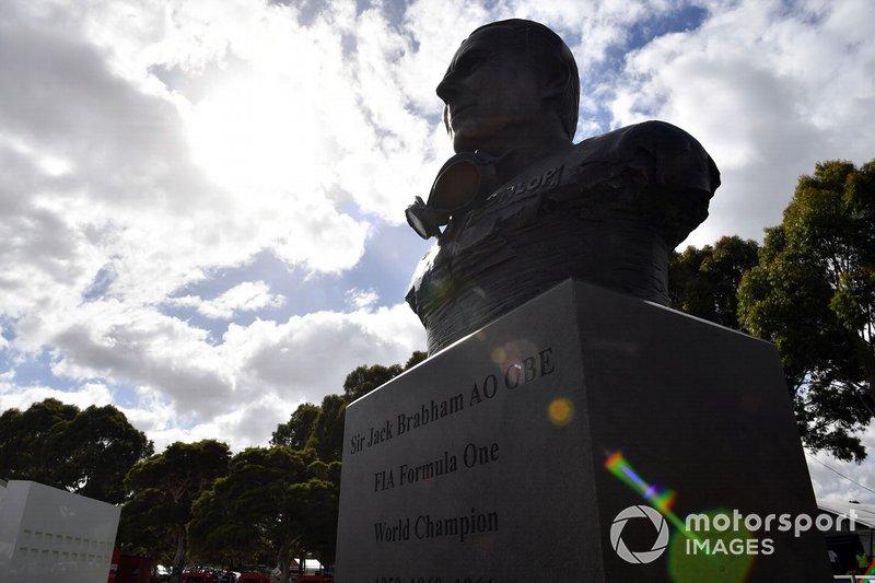 A bust of Australian Formula 1 World Champion Sir Jack Brabham