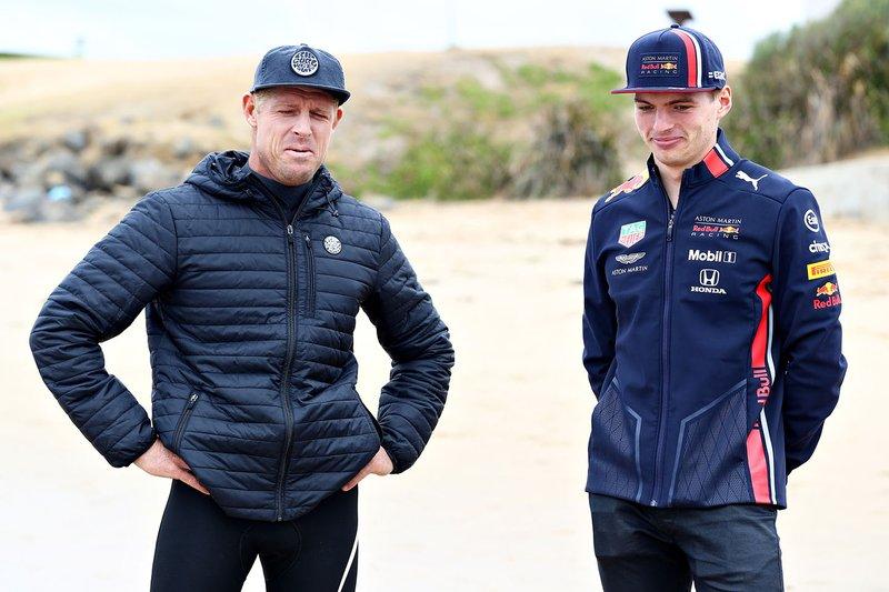 Max Verstappen, Red Bull Racing talks with surf legend Mick Fanning