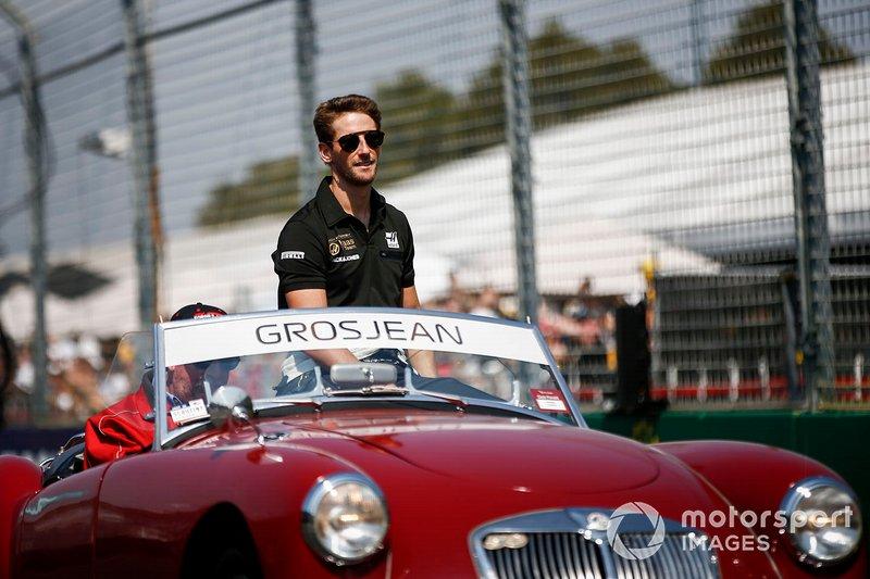 Romain Grosjean, Haas F1, en el desfile de pilotos