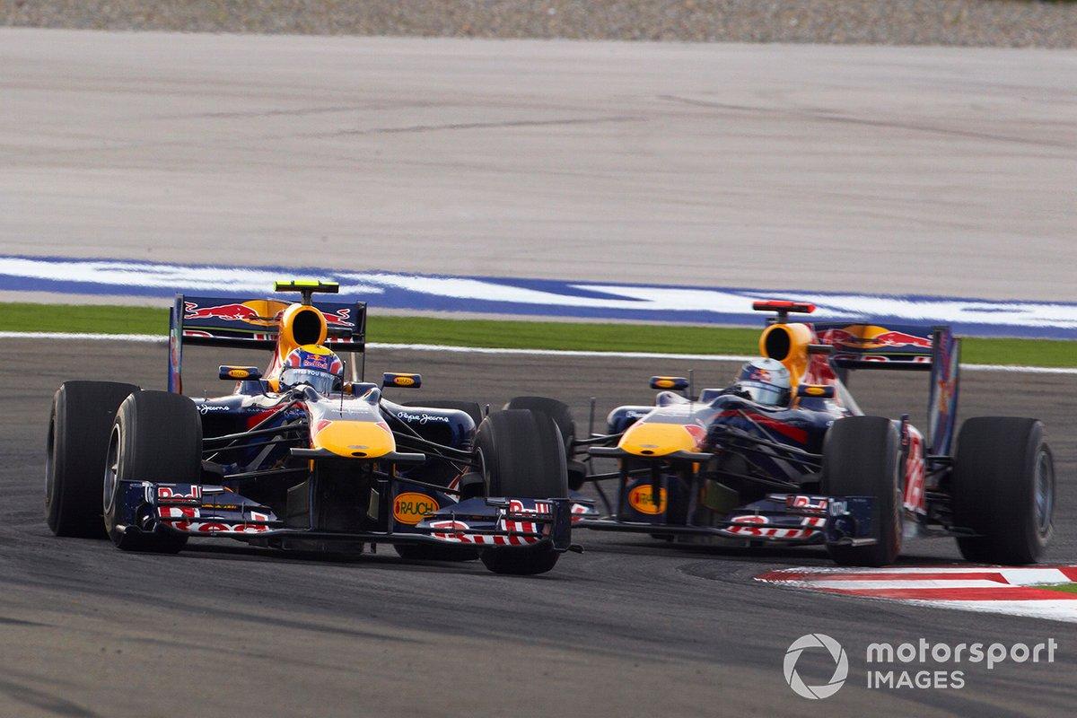 Mark Webber, Red Bull Racing RB6 Renault leads Sebastian Vettel, Red Bull Racing RB6 Renault