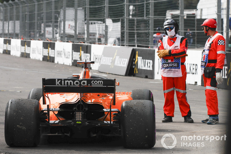 Fernando Alonso's McLaren MCL33 after retiring from the race