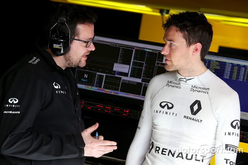 Julien Simon-Chautemps, Renault Sport F1 Team and Jolyon Palmer, Renault Sport F1 Team