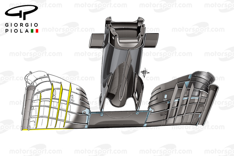McLaren MP4/31 front wing fins, bottom view, Mexican GP