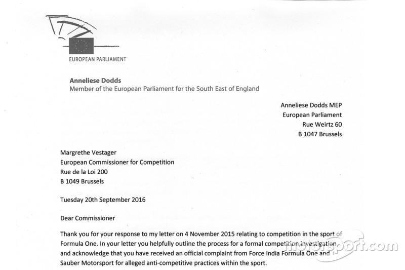 Anneliese Dodds carta a la Comisaria Europea de competencia - parte 1
