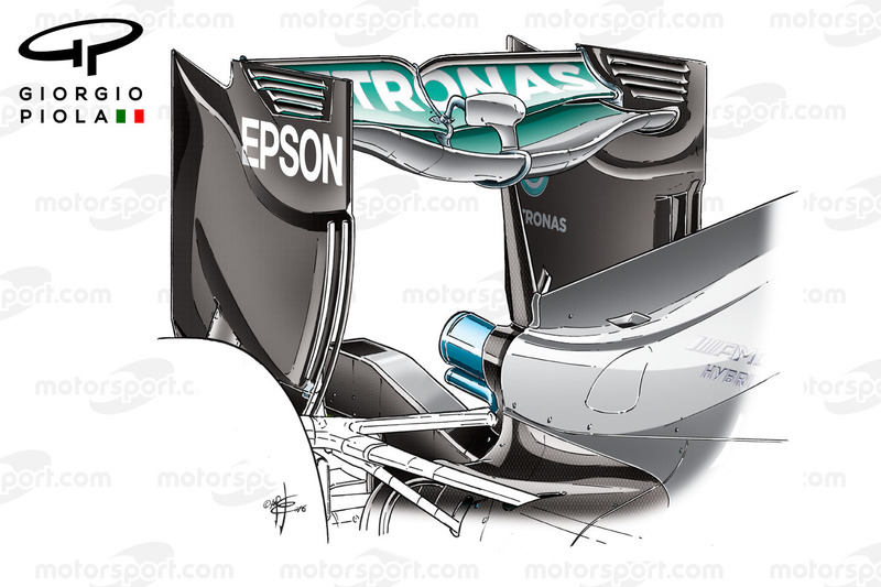 Mercedes W07, Heckflügel ohne Monkey-Seat, Grand Prix von Europa