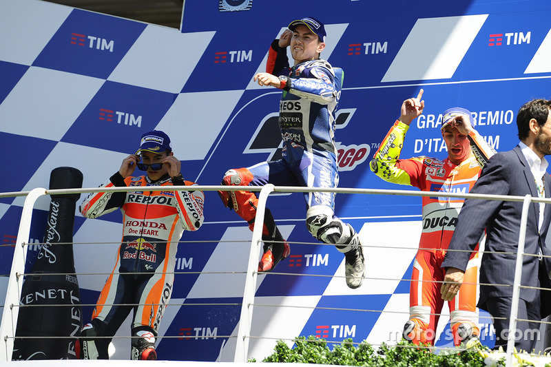 Podium: race winner Jorge Lorenzo, Yamaha Factory Racing, second place Marc Marquez, Repsol Honda Te