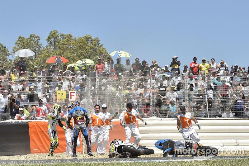 Jack Miller, Estrella Galicia 0,0 Marc VDS, Alvaro Bautista, Aspar Racing Team crash