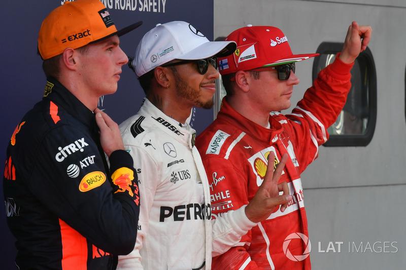 Max Verstappen, Red Bull Racing, pole sitter Lewis Hamilton, Mercedes AMG F1 and Kimi Raikkonen, Ferrari in parc ferme
