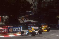 Start zum Rennen, Alain Prost, Williams FW15C Renault vor Michael Schumacher, Benetton B193B Ford; Damon Hill, Williams FW15C Renault und Ayrton Senna, McLaren MP4/8 Ford