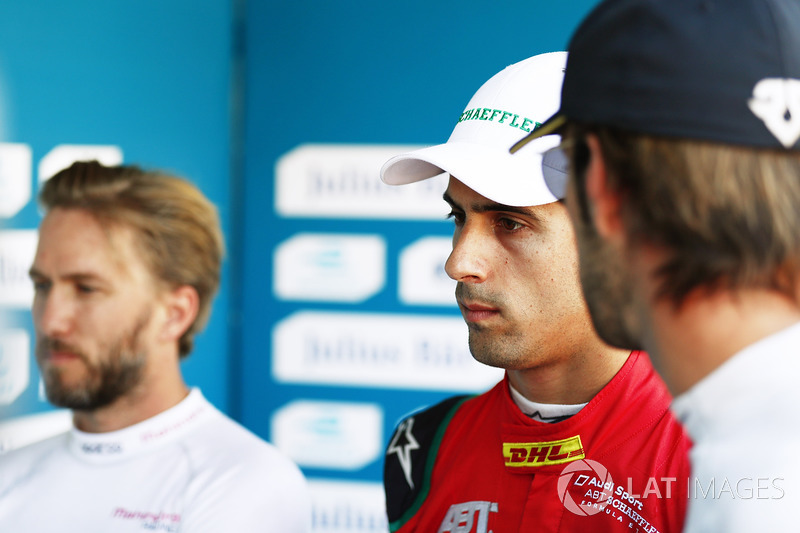 Nick Heidfeld, Mahindra Racing, Lucas di Grassi, ABT Schaeffler Audi Sport, y Jean-Eric Vergne, Tech
