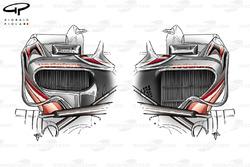 McLaren MP4-23 2008 sidepod comparison