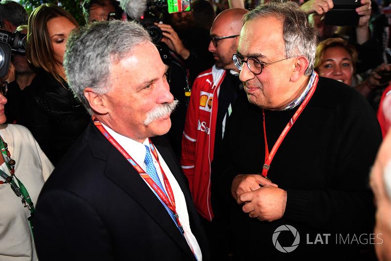 Керівник Ф1 Чейз Кері, генеральний директор FIAT Серджіо Маркіонне, на 70-річчі Ferrari