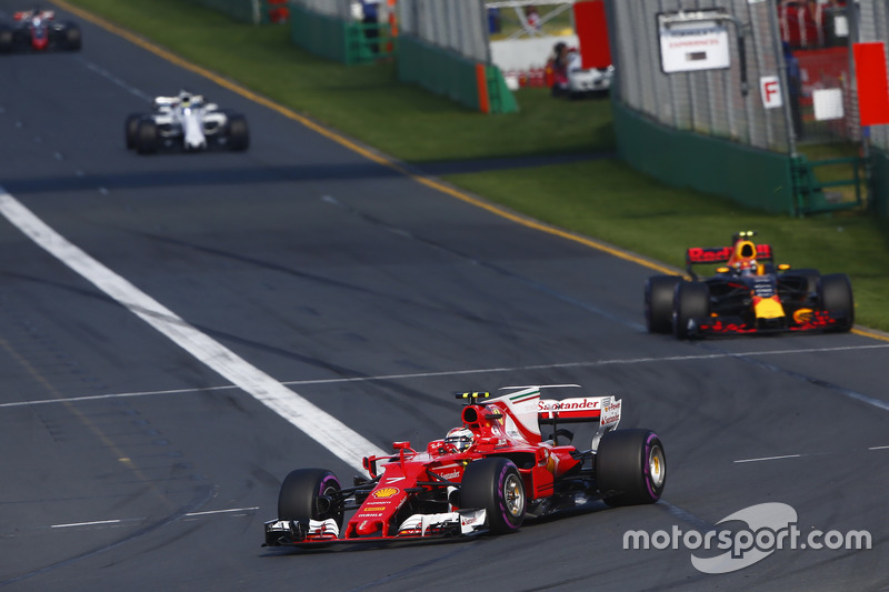 Kimi Raikkonen, Ferrari SF70H, leads Max Verstappen, Red Bull Racing RB13, and Felipe Massa, Williams FW40