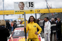 Grid girl of Augusto Farfus, BMW Team RMG, BMW M4 DTM