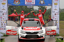 Winners Ole Christian Veiby, Stig Rune Skjærmoen, Skoda Fabia R5, Team MRF