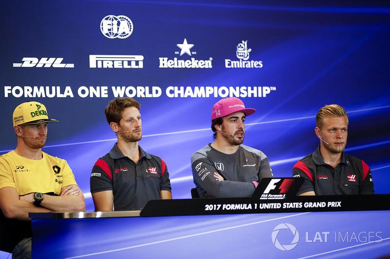 Nico Hulkenberg, Renault Sport F1 Team, Romain Grosjean, Haas F1 Team, Fernando Alonso, McLaren, Kev