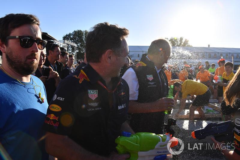 Christian Horner, Red Bull Racing Team Principal at the raft race