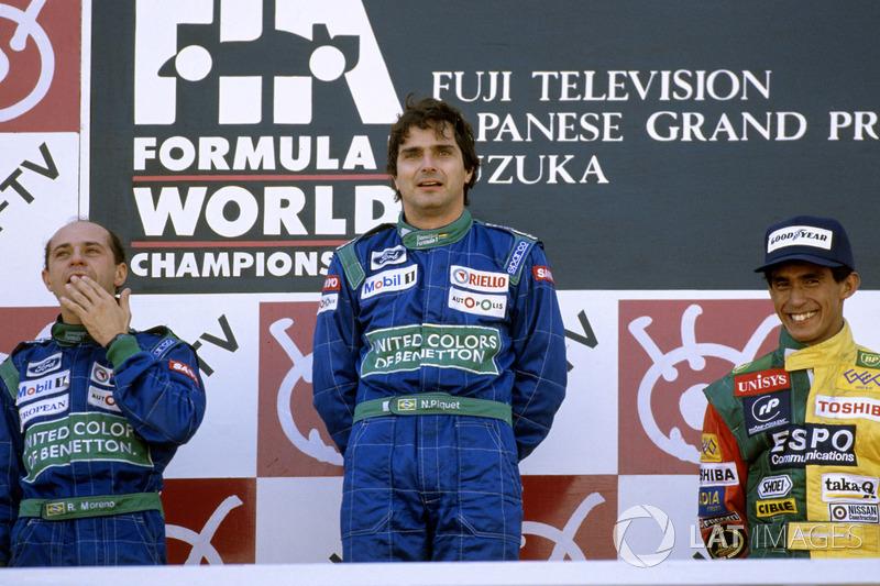 Подіум: переможець Нельсон Піке (Benetton), другий призер Роберто Морено (Benetton), третій призер Агурі Сузукі (Larrousse)