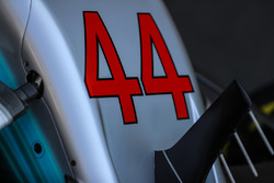 Number and nose detail of Lewis Hamilton, Mercedes-Benz F1 W08