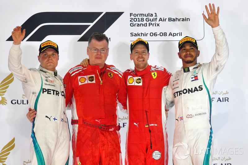 2. GP Bahrain - Podium: Sebastian Vettel, Valtteri Bottas, Lewis Hamilton