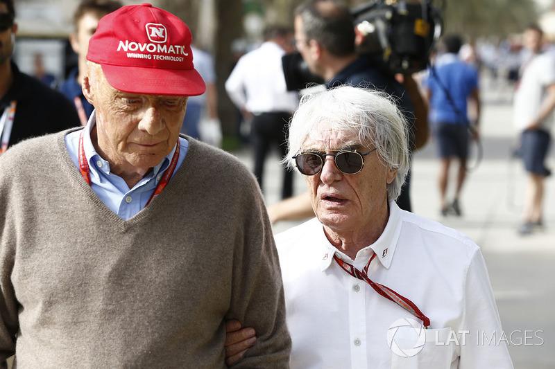 Niki Lauda, Mercedes AMG F1 Non-Executive Chairman, Bernie Ecclestone