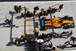 Stoffel Vandoorne, McLaren MCL33 Renault, sale de su pit box