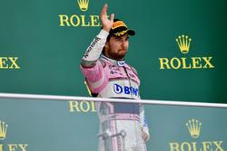 Sergio Perez, Force India celebrates on the podium