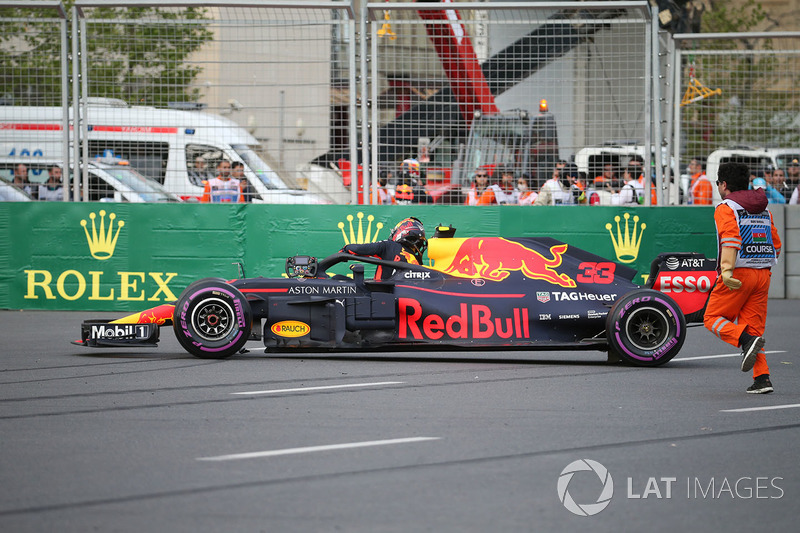 The crashed car of Max Verstappen, Red Bull Racing RB14