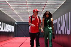 Kimi Raikkonen, Ferrari with wife Minttu Virtanen