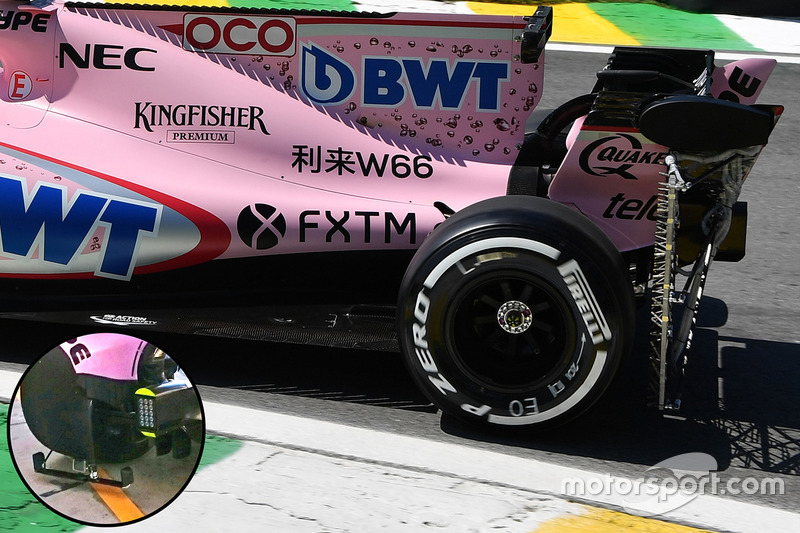 Force India rear wheel rake