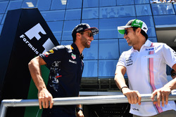 Daniel Ricciardo, Red Bull Racing and Sergio Perez, Sahara Force India on the drivers parade