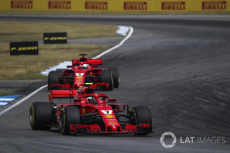 Kimi Raikkonen, Sebastian Vettel, Ferrari SF71H