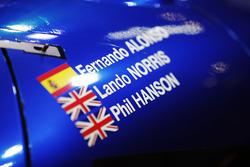 Los nombres de Fernando Alonso, Lando Norris y Phil Hanson en el coche de United Autosports sportsca