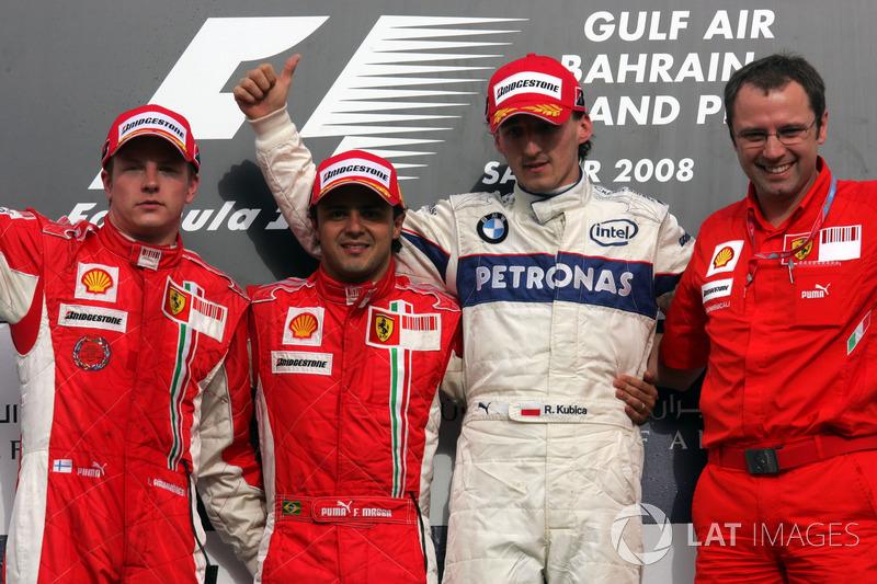 Podio: segundo puesto Kimi Raikkonen, Ferrari, ganador de la carrera Felipe Massa, Ferrari, tercer puesto Robert Kubica, BMW Sauber F1 y Stefano Domenicali, gerente de Ferrari de operaciones F1