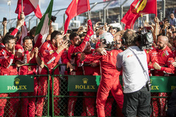 Sebastian Vettel, Ferrari, 1st position, and the Ferrari team celebrate in Parc Ferme
