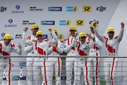 Podium: Race winners #29 Audi Sport Team Land-Motorsport, Audi R8 LMS: Christopher Mies, Connor De Phillippi, Markus Winkelhock, Kelvin van der Linde