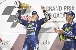 Podium: race winner Maverick Viñales, Yamaha Factory Racing, third place Valentino Rossi, Yamaha Factory Racing